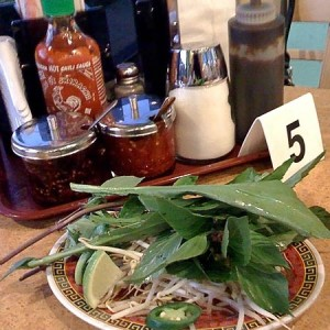 Pho garnishes and condiments