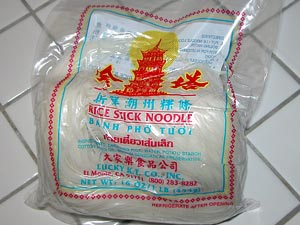 Package of fresh banh pho noodle