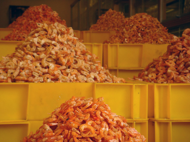 Dried shrimp for sale near Ben Thanh Market Saigon