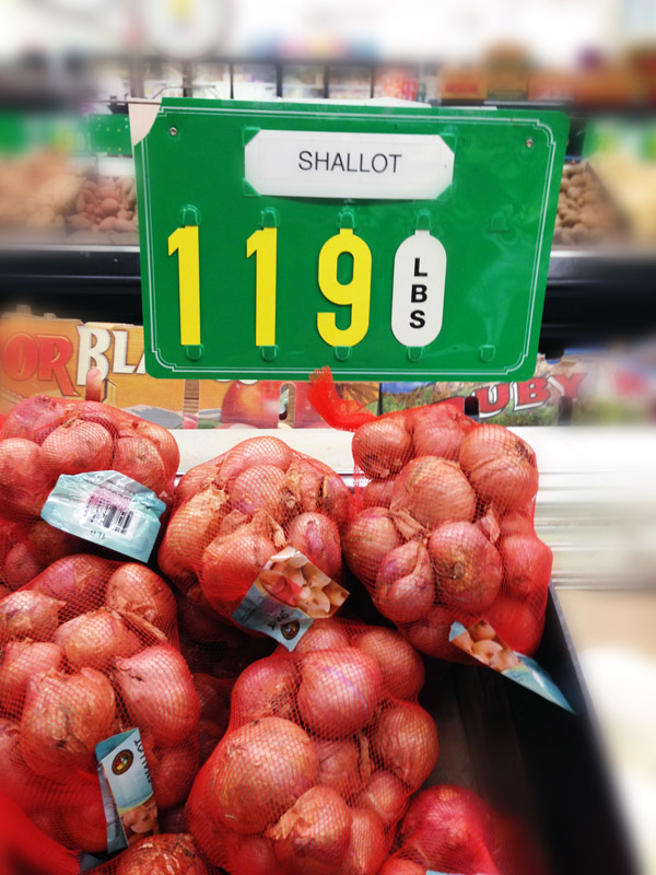 Shallots in supermarket