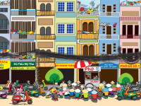 Large Wall Mural: Saigon Street Food Scene (Detail)