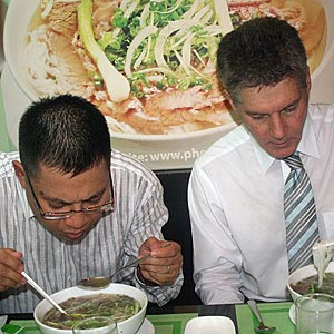 Honorable Stephen Smith Having Pho with Ly Quy Trung of Pho 24