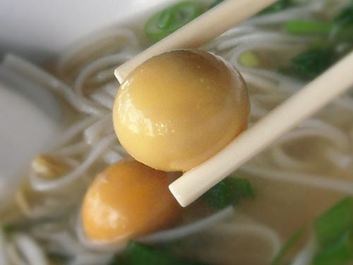 Chicken pho with unlaid eggs