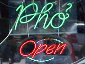Pho Restaurant Open Sign