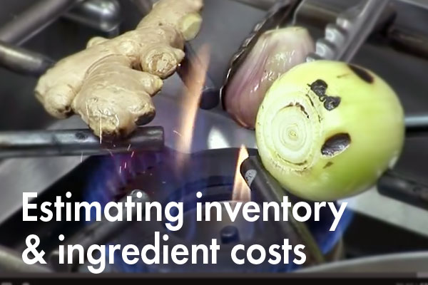Estimating inventory and ingredient costs