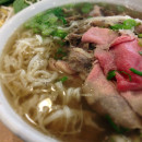 Beef pho with rare beef and tripe