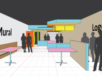 3D Mockup of FOH and Quick Serve Area