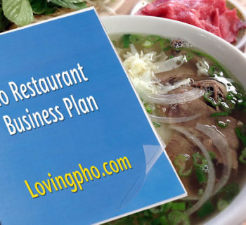 Pho business plan with bowl of beef pho