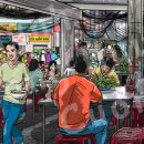 Pho Restaurant Wall Mural: Eating Pho In Saigon Pho Restaurant-featured graphic
