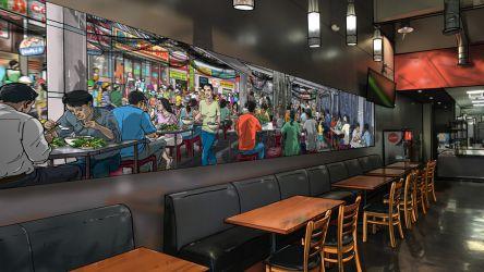 Restaurant mural design: Saigon pho restaurant